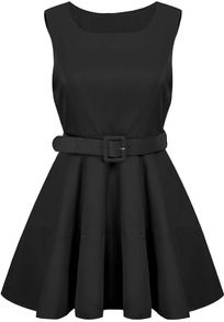 840fc9664215 Black Sleeveless Belt Pleated Dress