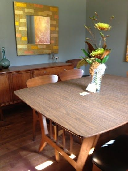 Wheat Ridge Mid Century Modern Home Tour 2013 Vintage Dining Room table, credenza, blue grey wall paint. Vintage brought modern.
