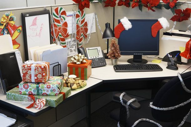 Sensational Office Cubicle Decoration With Red Christmas Style