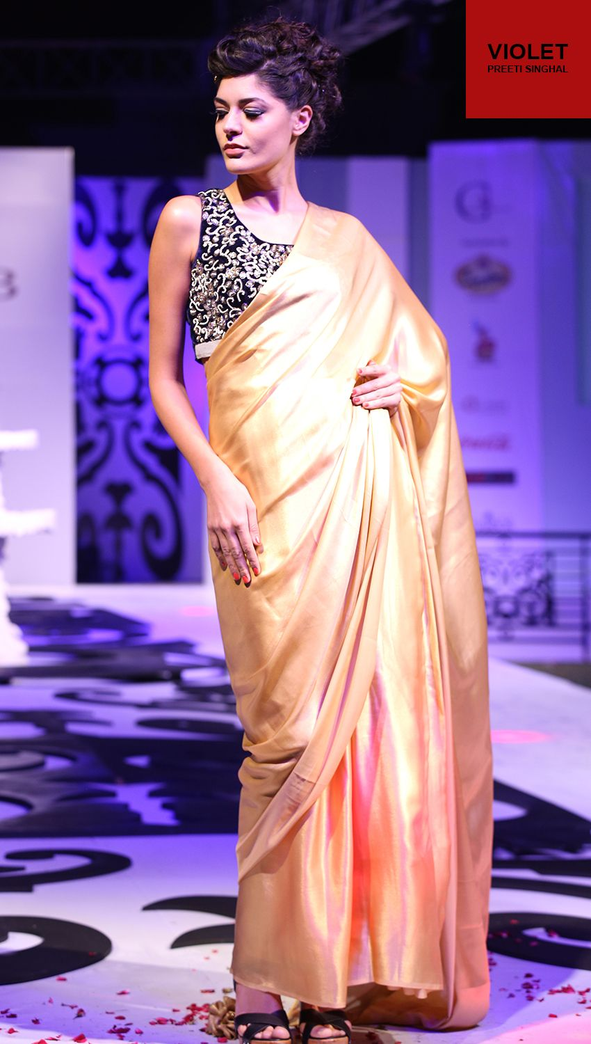a94bb8a7c2029d Golden Saree with Velvet Black Blouse by Preeti SInghal This Golden Shimmer  Saree comes with a