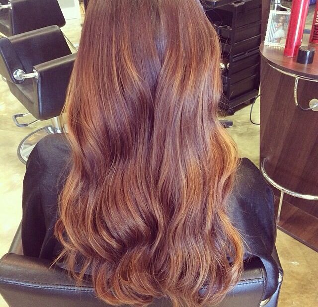 Dark Brown Hair With Copper Balayage Highlights Hair Color