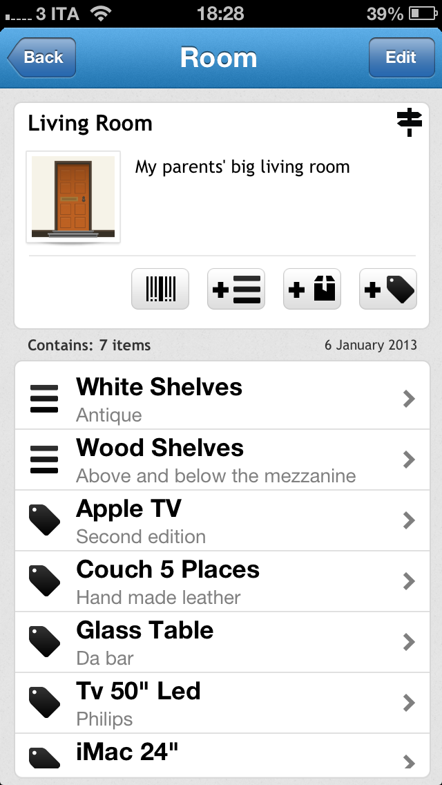 Boxes & Stuff Keep your stuff organized easily and rapidly    Can generate and read QRCodes; this makes it easy to find out where a box is and obtain a detailed description of its content. Just scan the code and you will find out the content immediately  Is easy and user-friendly: a simple, quick-to-learn app to manage an inventory, designed for every-day use at home.    To find out the content of a box you will just need to scan the QRCode  and the content will be displayed on your iPhone