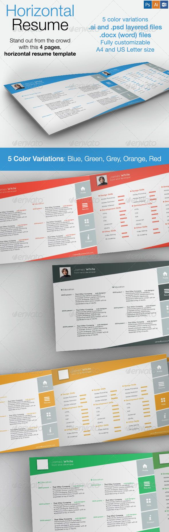 Horizontal  Pages Resume Graphicriver A Great Way To Stand Out