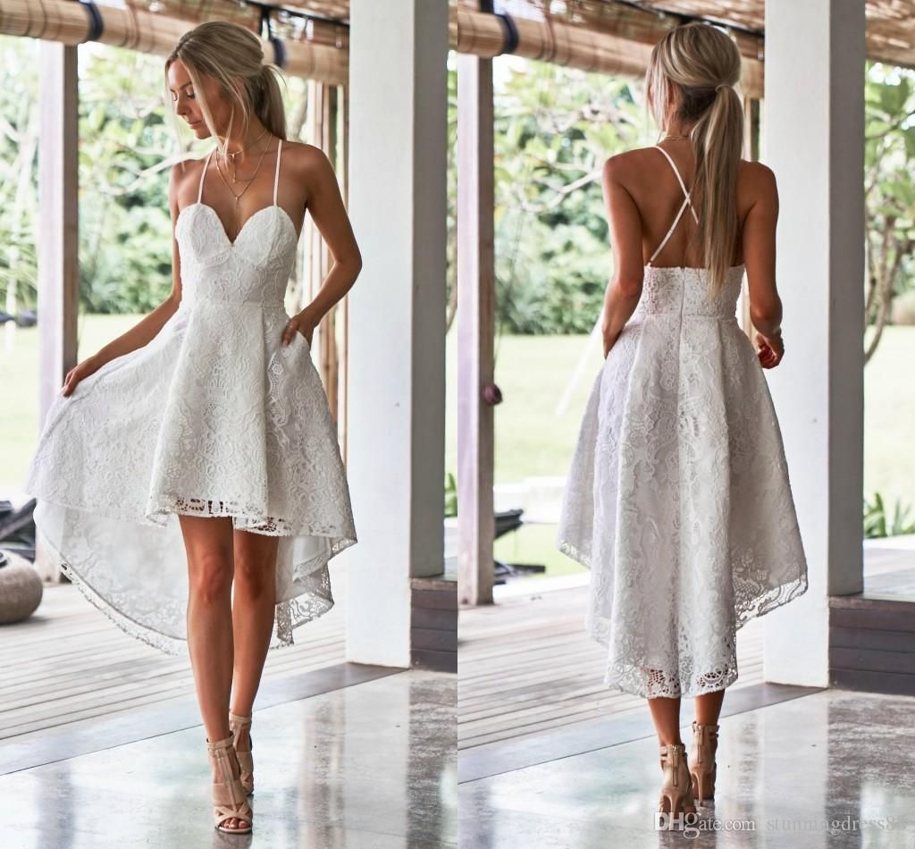 Discount Fashion Lace High Low Cheap Wedding Dresses Under 100 With Straps Backles Short Wedding Dress Beach Wedding Dresses High Low Short White Dress Wedding