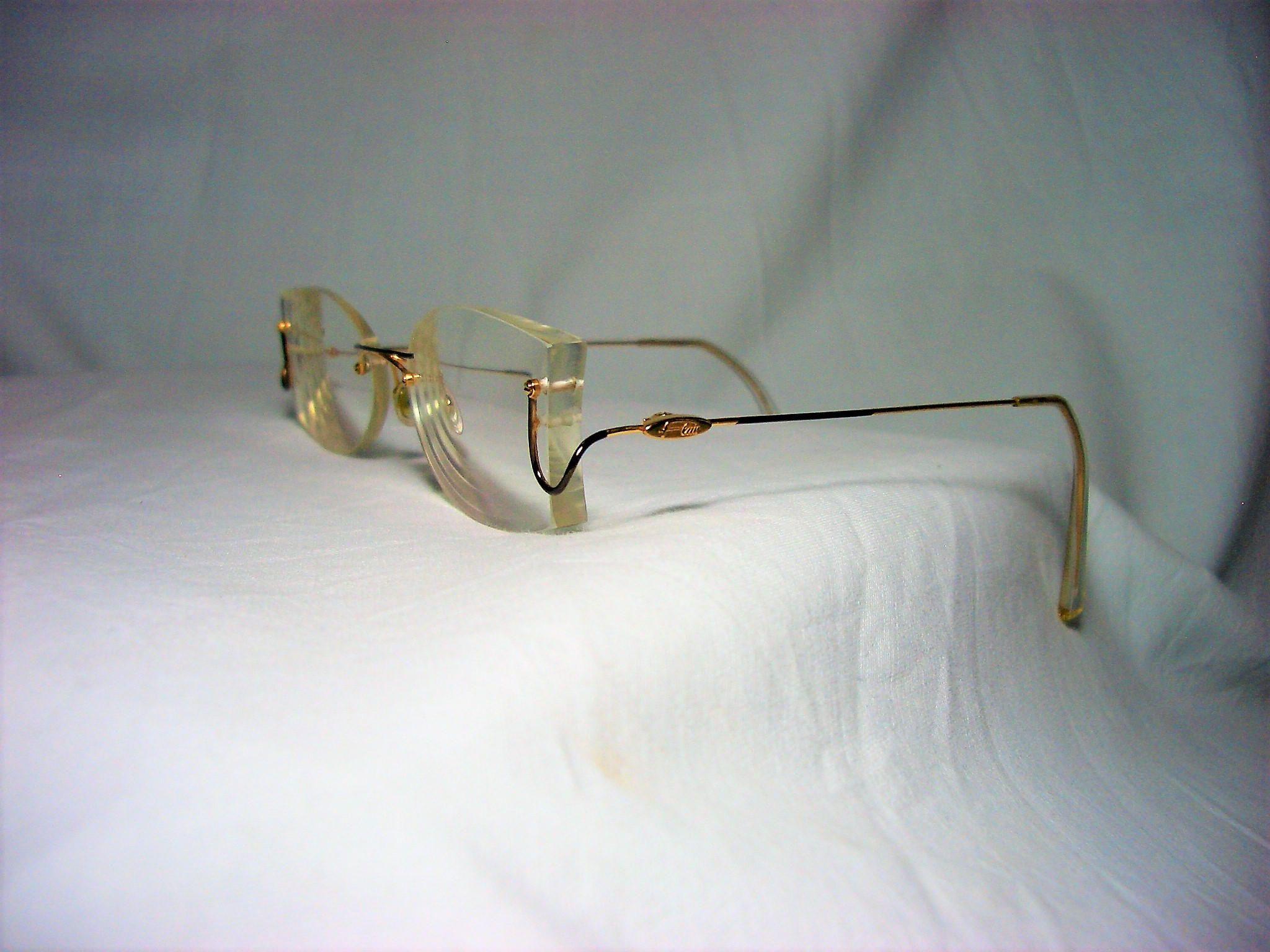 Flair Germany, 22 kt gold plated Titanium, rimless, eyeglasses ...