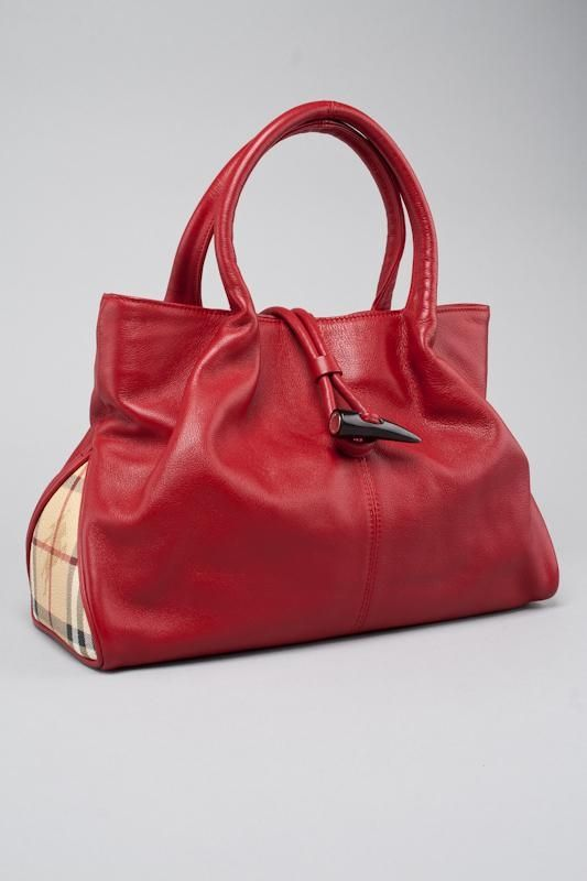 BURBERRY LONDON RED LEATHER   HAYMARKET PLAID HANDBAG  16bfc36ed1c59