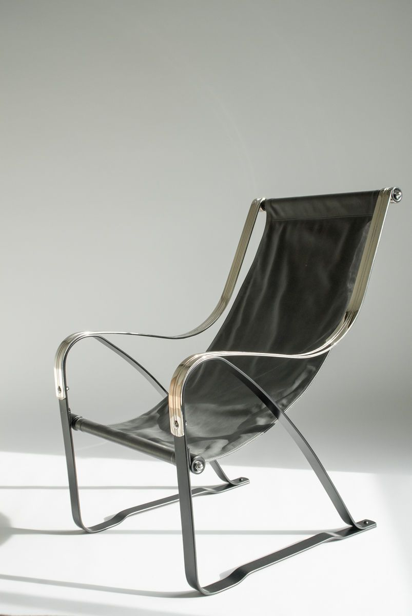 Deco Leather Sling Chairs   Chrome Lounge Chair   Machine Age McKay  Mckaycraft