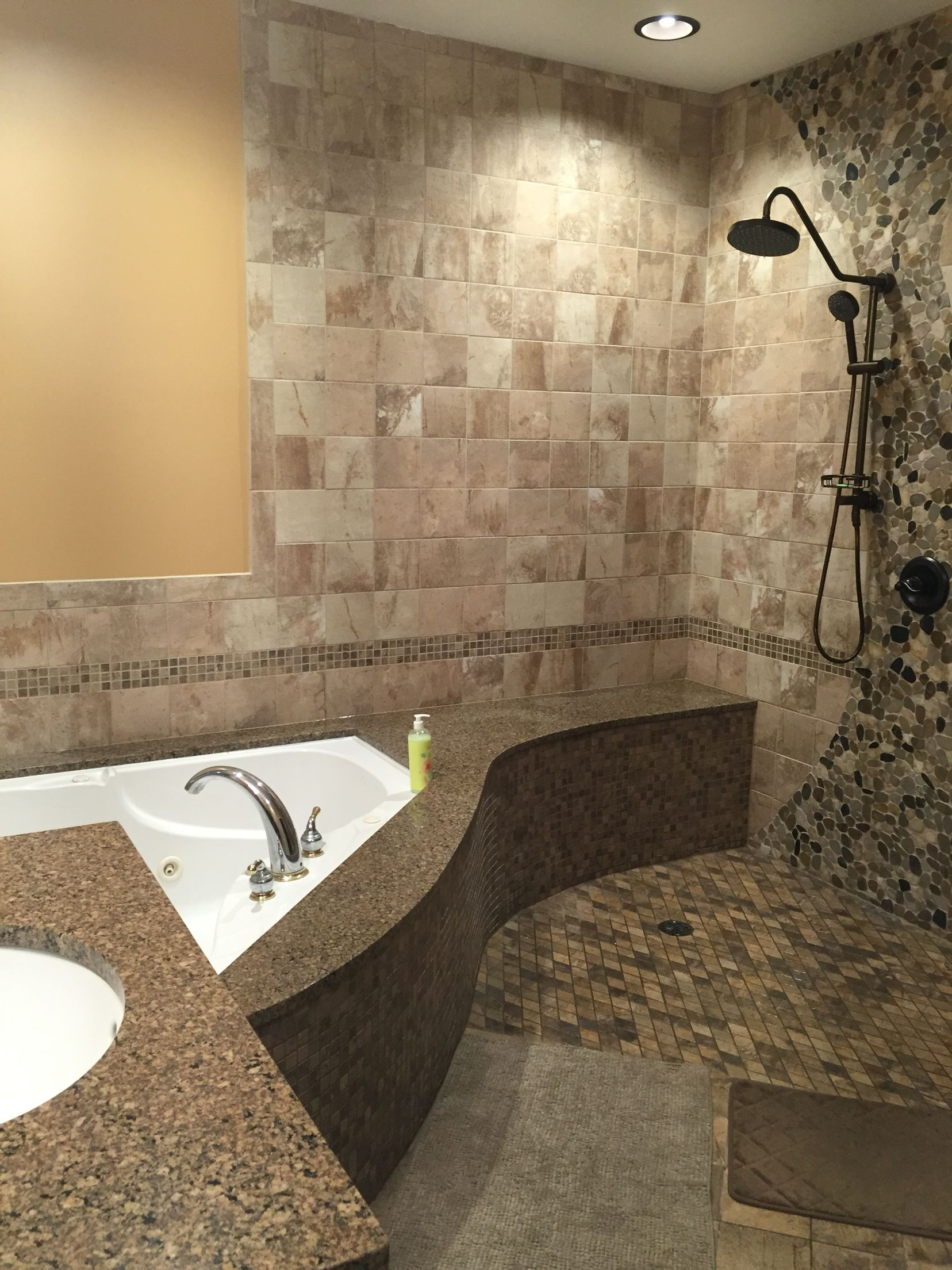 Spa Walk In Open Shower Jacuzzi Tub Remodel Oil Rubbed Bronze
