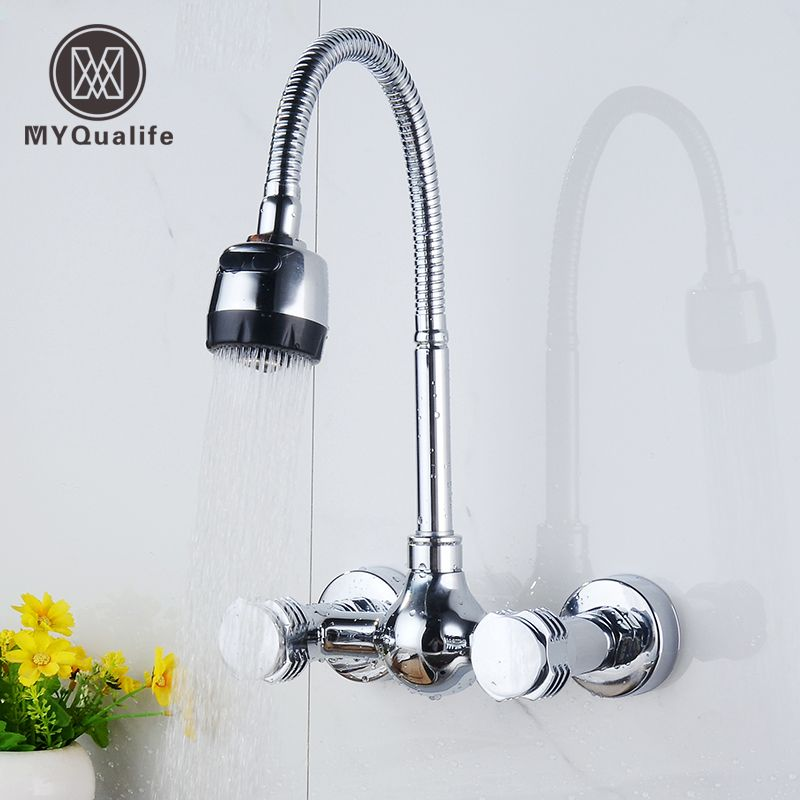 Wall Mount Kitchen Hot and Cold Water Faucet Dual Handle Flexible ...