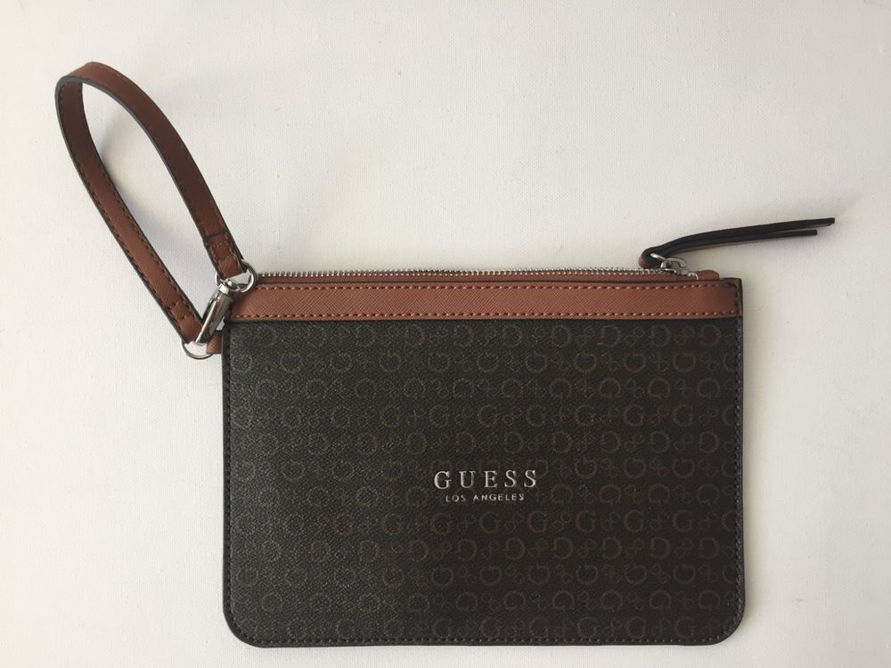 Guess Wristlet Flat Logo Brown Purse Wallet Bag NEW #fashion