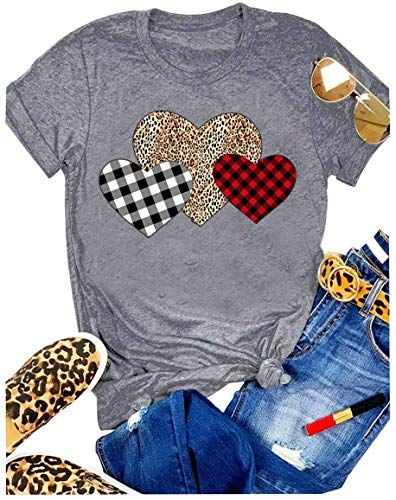 Amazing offer on Women Plaid Leopard Printed Heart Valentine?s Day T-Shirts Short Sleeve Graphic Printed Tees Tops Blouses online - Yournewseasonstyle