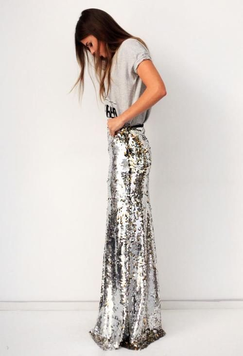 maxi sequin skirt- not sure if I'd have the balls to wear this or not but it's cute