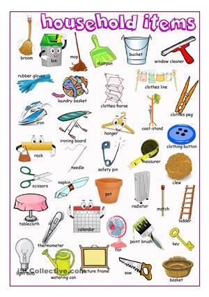 A Pictionary On Household Items Esl Worksheets