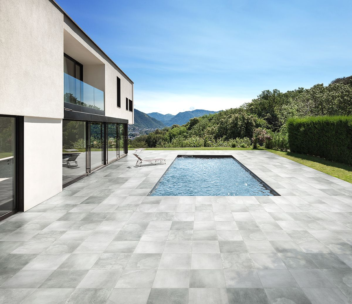 terrassenbereich mit einer fliese in einer natursteinoptik. Black Bedroom Furniture Sets. Home Design Ideas