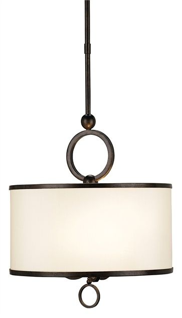 PRODUCT NAME: Brownlow Pendant, Small DIMENSIONS: 60h x 16w NUMBER OF LIGHTS: 3 SHADES: Beige Shantung w/Brass Trim MATERIAL: Wrought Iron F...