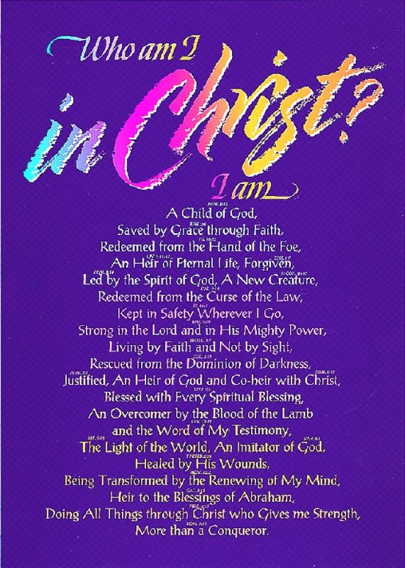 Poster Large Who Am I In Christ Inspirational Scripture Christian Affirmations Encouragement For Today