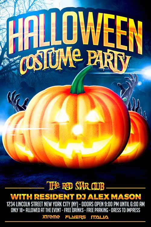 Halloween Costume Party Flyer Template -   xtremeflyers