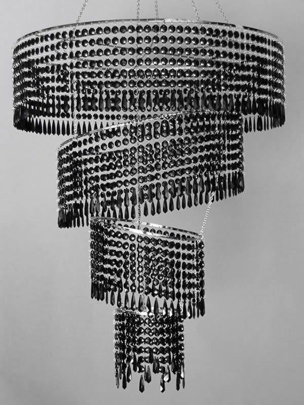 Large 4 Tier Acrylic Crystal Tilted Chandelier Black