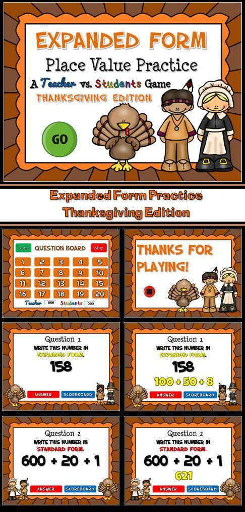 Expanded Form Practice Thanksgiving Edition Powerpoint Game