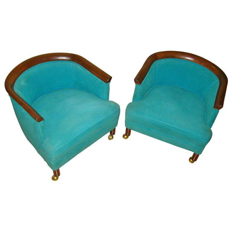 1stdibs.com | Mid Century Low Slung Dunbar Style Lounge Chair Pair
