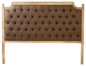 French Shabby Chic Limed Oak Brown Linen Tufted Headboard- Queen  headboards