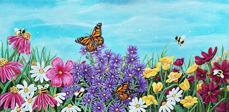 Field Of Wild Flowers Acrylic Painting Acrylic Painting Flowers
