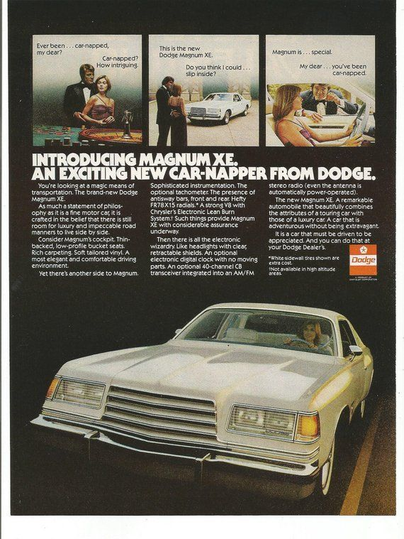 1977 Advertisement Dodge Magnum XE 77 Luxury White Muscle Classic Car Luxury 70s…