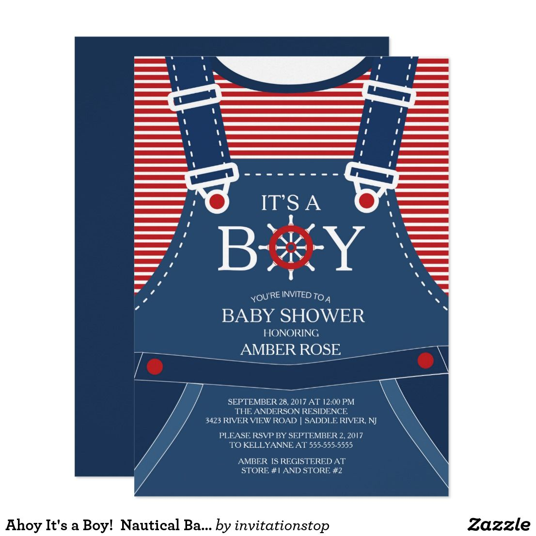 Ahoy It\'s a Boy! Nautical Baby Shower Invitation | Baby Shower ...