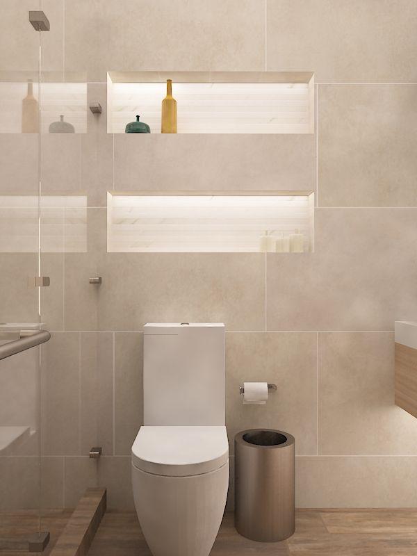 Ba o sanitario blanco piso duela muro beige cancel transparente nichos iluminados marmol - Sanitarios bano ...