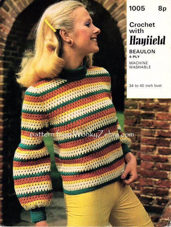 Suéter de puente vintage de los años setenta con full mangas ...