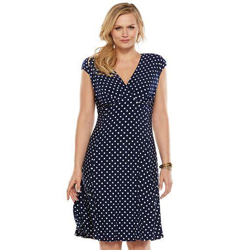 Chaps Empire Gored Dress Womens Plus Size Dress It Up