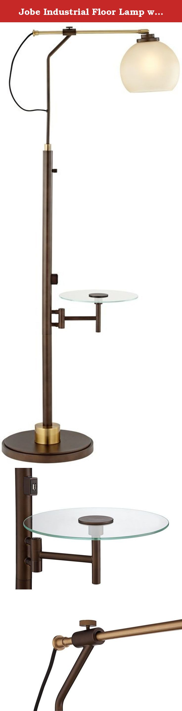 Jobe Industrial Floor Lamp With Tray Table And Usb Port The Perfect Addition To An Entertaining Or Living Room Area Th Industrial Floor Lamps Floor Lamp Lamp