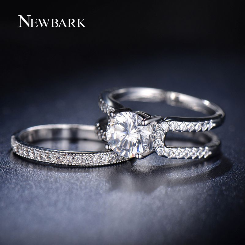 NEWBARK Abnehmbare Ring Sets AAA CZ Diamant Weißes Gold