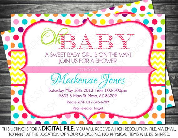 Girls Baby Shower Invitation Polka Dots Chevron Yellow Pink