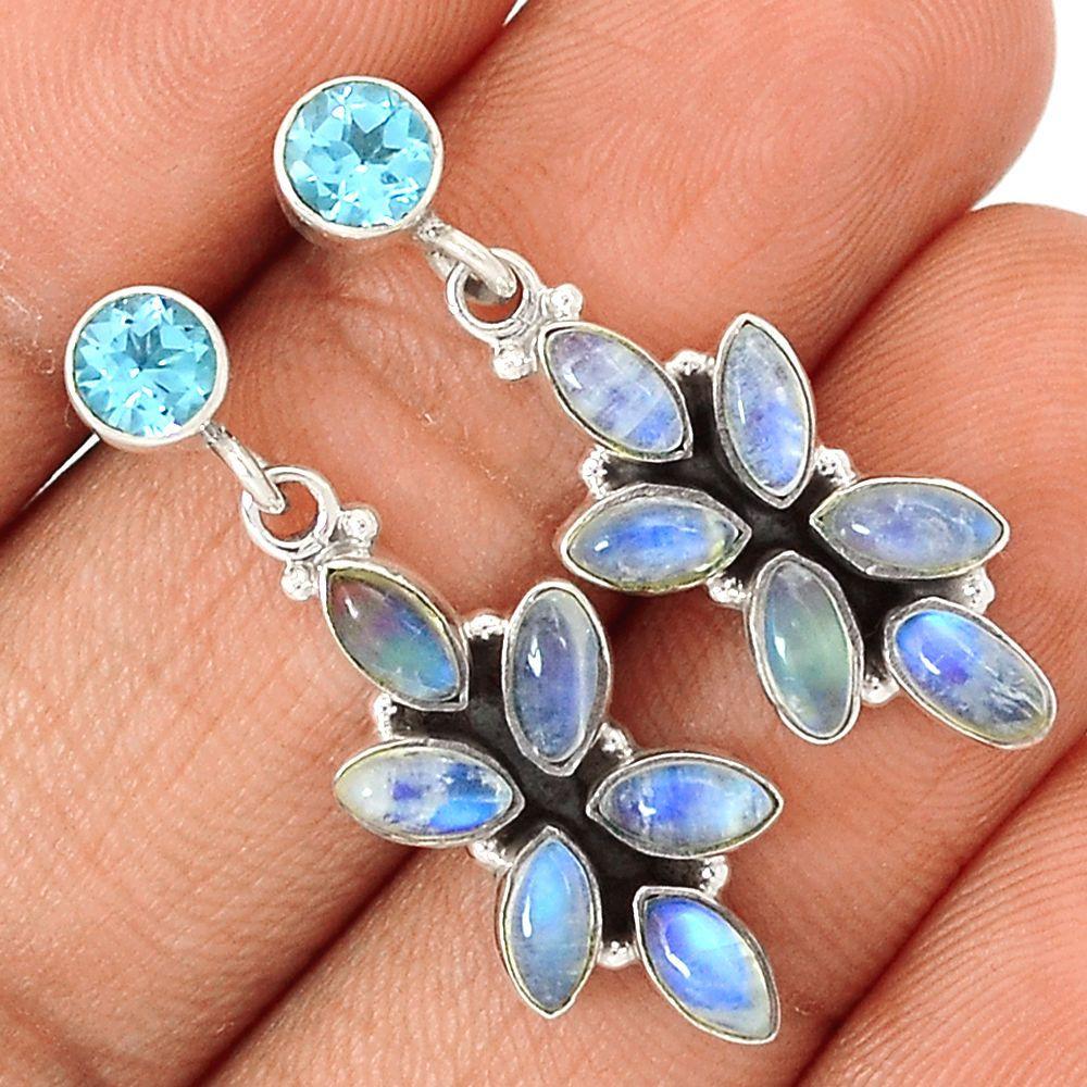 Rainbow Moonstone 925 Sterling Silver Earrings Jewelry SE111921