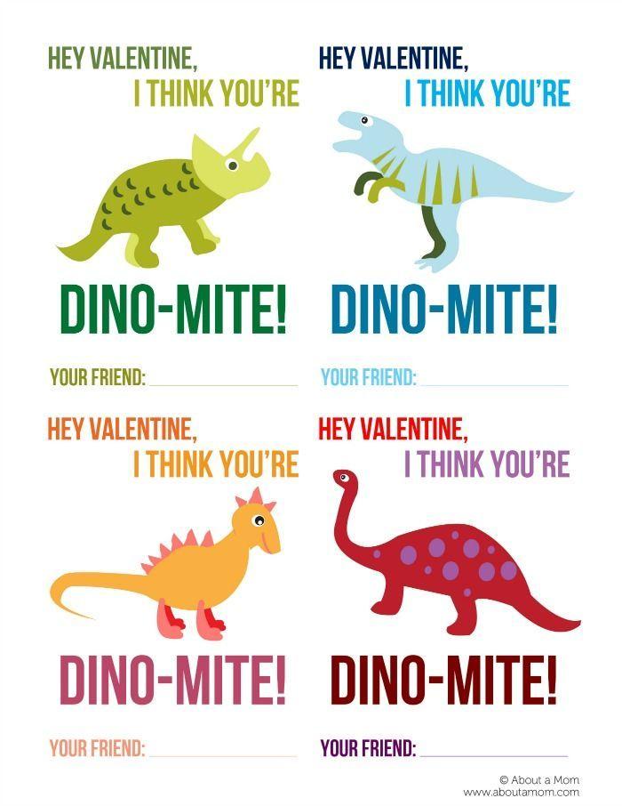 Free Printable Dinosaur Valentines – Printable Childrens Valentines Cards
