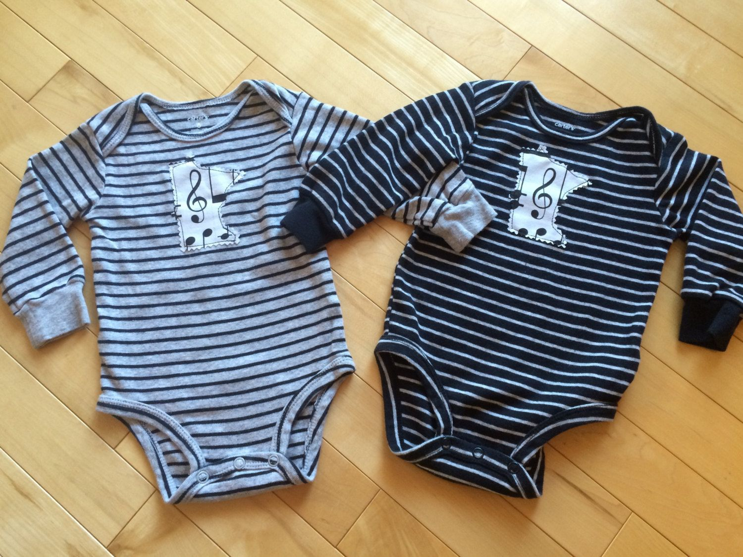 Minnesota Twins Onesie Set ~ Size 6 mo ~ Stripes & Music ~ Gray and Black ~ Carter's Brand ~ One-of-a-Kind ~ Fun Gift for MN Twins ~ Unisex~ by ArtThatCooks on Etsy