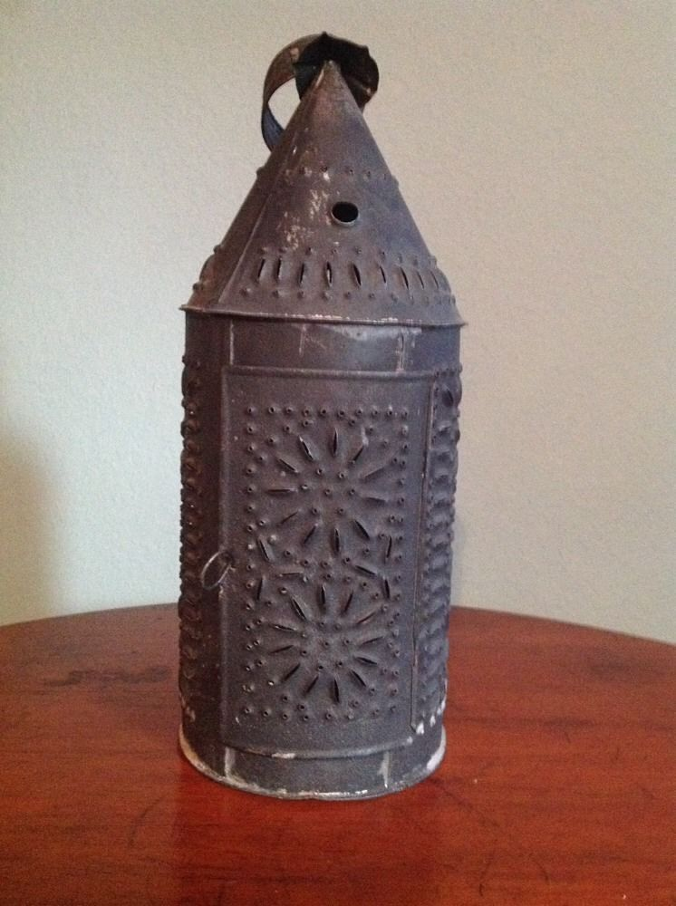 Antique 1700s Colonial Witch Hat Folk Art Punched Tin Candle Lantern Aafa Naiveprimitive Tin Candles Antique Lanterns Candle Lanterns