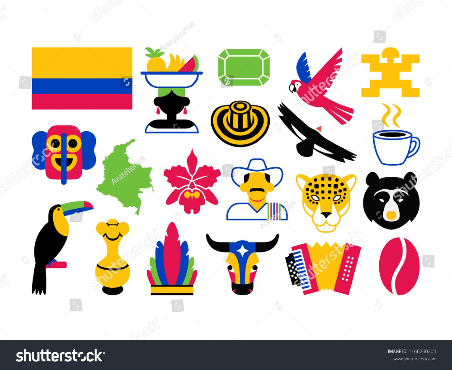 Vector Set Of Colombia Icons Isolated On White Background