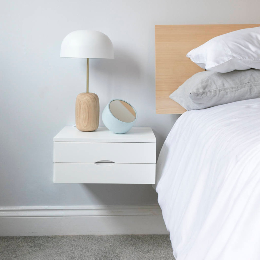 Floating Bedside Table In White With Double Drawers In 2020 Wall