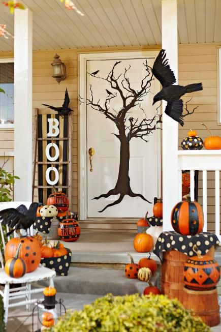3 Fun Themes For Fall Door Decorations Halloween Porch Halloween Decorations Fall Door Decorations