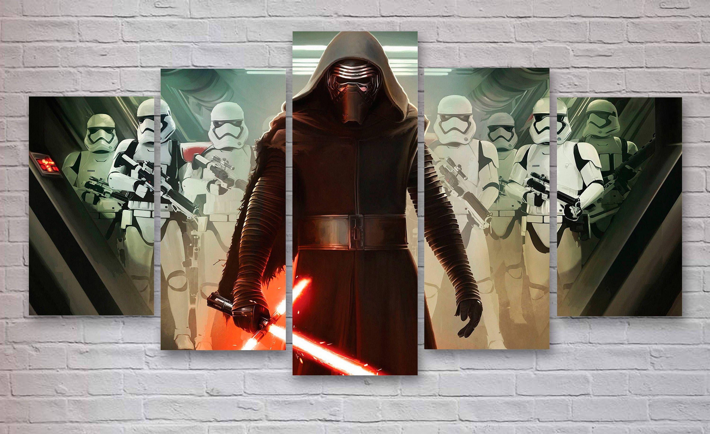 Kylo Ren, Stormtroopers, Star Wars Movie 5 Panel Canvas, Office Decor,  Bedroom