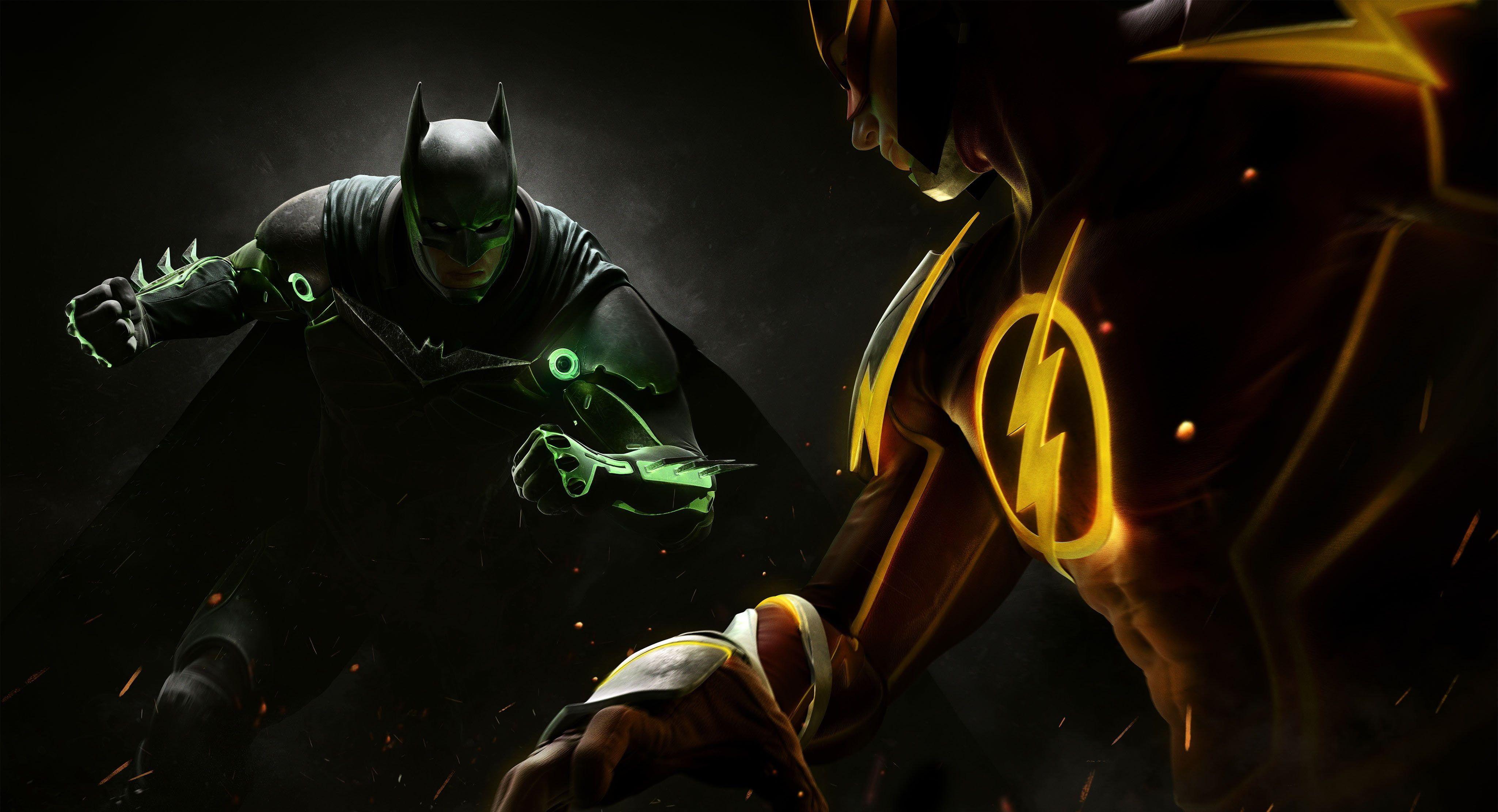 Batman The Flash Dc Comics Superhero Injustice 2 4k Wallpaper Hdwallpaper Desktop Batman Injustice 2 Batman Injustice