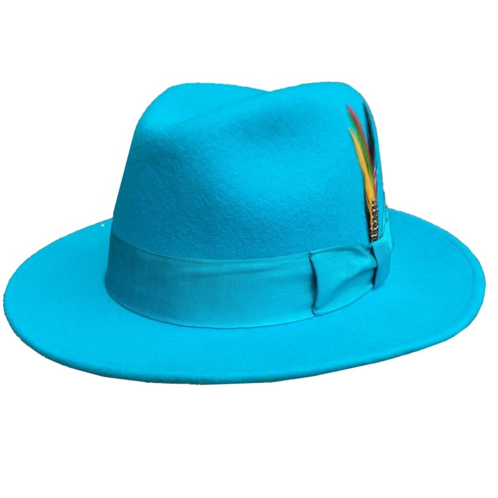 96a8211f1710e Classic Light Blue Classic Men 's Wool Felt Fur Fedora Hat Godfather ...