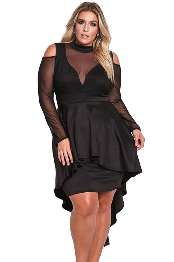 fc1c891a9e Black Sheer Mesh Trim Hi-Lo Peplum Bodycon Dress