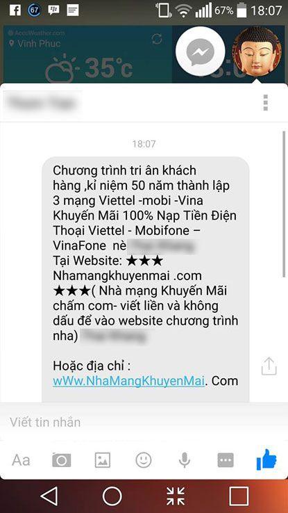 Canh bao dich vu lua dao nap the dien thoai tren Facebook