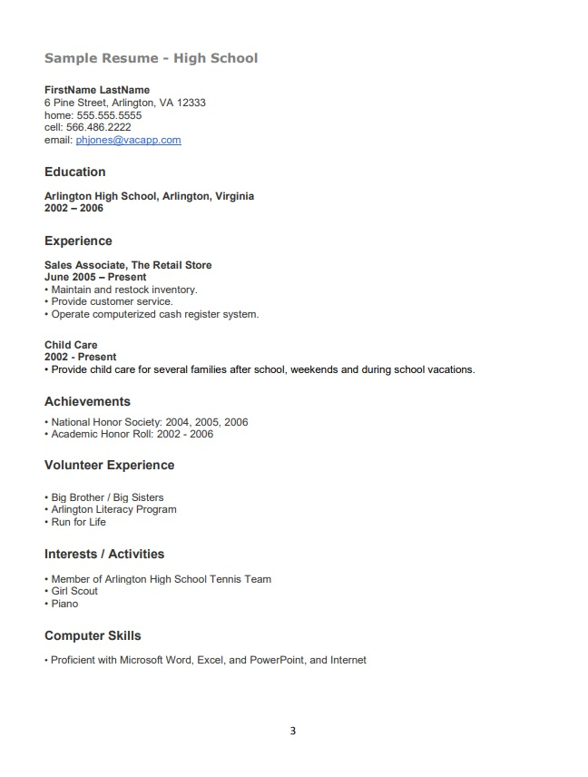High School Resume Templates 12+ Free Printable Word