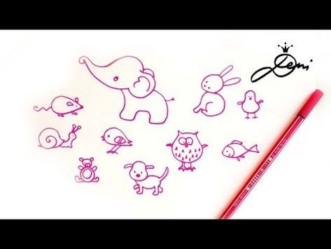 Einfache Tiere schnell zeichnen lernen 🐰 How to draw easy simple animals 🐘 рисувам лесни животни