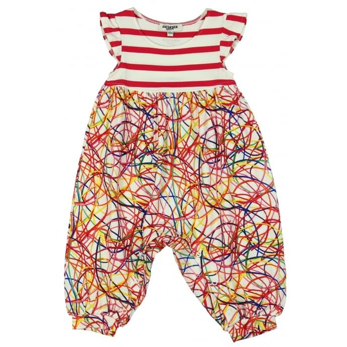 Junior Gaultier Baby Girls Striped and Multi-Coloured Print Romper. Free UK delivery at www.chocolateclothing.co.uk