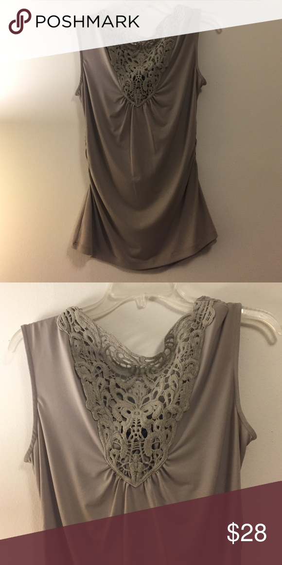f2c993c3fdb ONE DAY🚩Taupe Blouse Adorable top! Size M. A taupe tan color with pretty  design on front and a drop back. Has hanger hooks. Great condition.